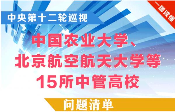 一图读懂:中央第十二轮巡视 中国农业大学、北京航空航天大学等15所中管高校问题清单