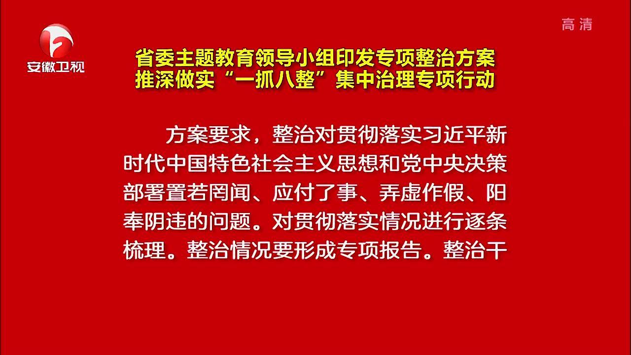 """【视频】省委主题教育领导小组印发专项整治方案 推深做实""""一抓八整""""集中治理专项行动"""