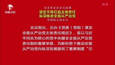 【视频】省委常委会会议强调 坚定不移扛起主体责任 纵深推进全面从严治党