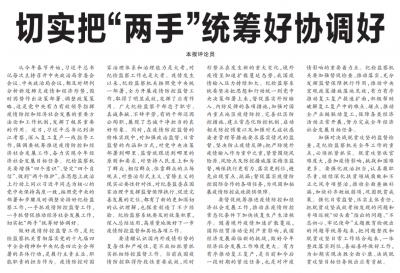 """中國紀檢監察報評論員:切實把""""兩手""""統籌好協調好"""