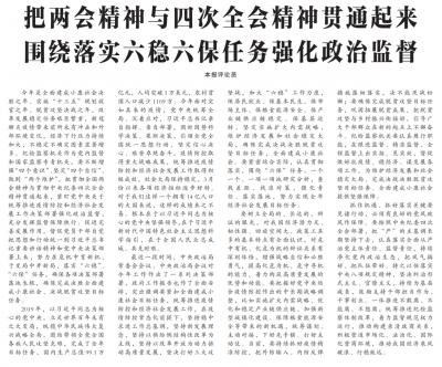 中国纪检监察报评论员:把两会精神与四次全会精神贯通起来 围绕落实六稳六保任务强化政治监督