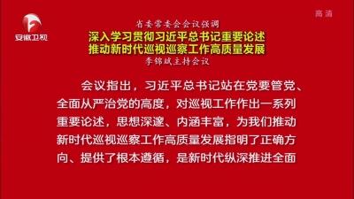 【视频】省委常委会会议强调 深入学习贯彻习近平总书记重要论述 推动新时代巡视巡察工作高质量发展