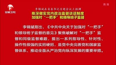 """【视频】李锦斌在省委书记专题会议上强调:推深做实党内政治监督谈话制度 加强对""""一把手""""和领导班子监督"""
