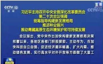 习近平:统筹指导构建新发展格局 推进种业振兴 推动青藏高原生态环境保护和可持续发展