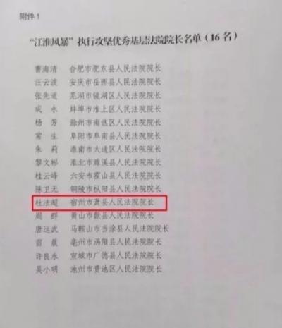 萧县人民法院院长杜法超获全省表彰
